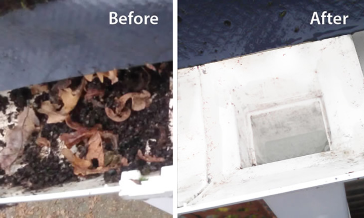 before and after view of gutter down pipe