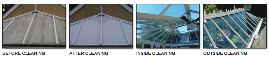 Conservatory showing before and after cleaning